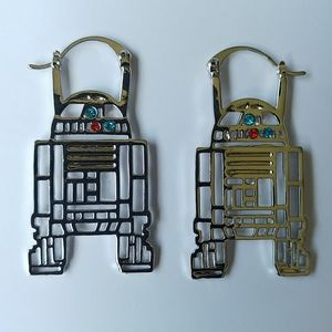 NEW Silver Star Wars R2D2 Droid Hanging Earrings